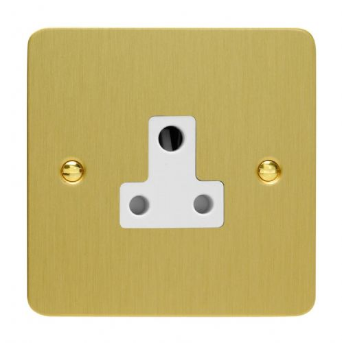 Varilight XFBRP5AW Ultraflat Brushed Brass 1 Gang 5A Round Pin Plug Socket